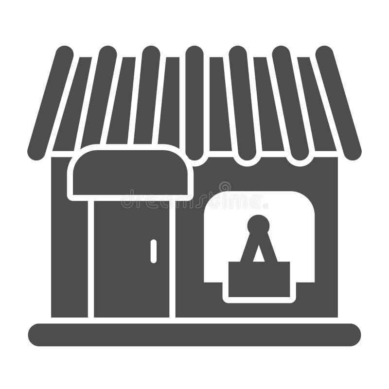 Speichern Sie feste Ikone Schaukastenvektorillustration lokalisiert auf Wei? Shop Glyph-Artdesign, bestimmt f?r Netz und APP ENV stock abbildung