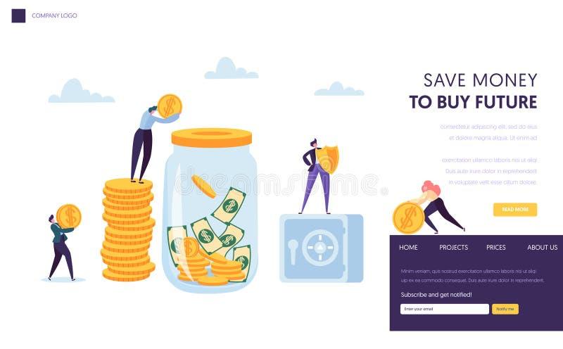 Speichern Sie Geld-sichere Landungs-Seiten-Schablone Mann, der Dollar-Münze in Glas setzt Sichere Konzept-finanziellfahne für Web lizenzfreie abbildung