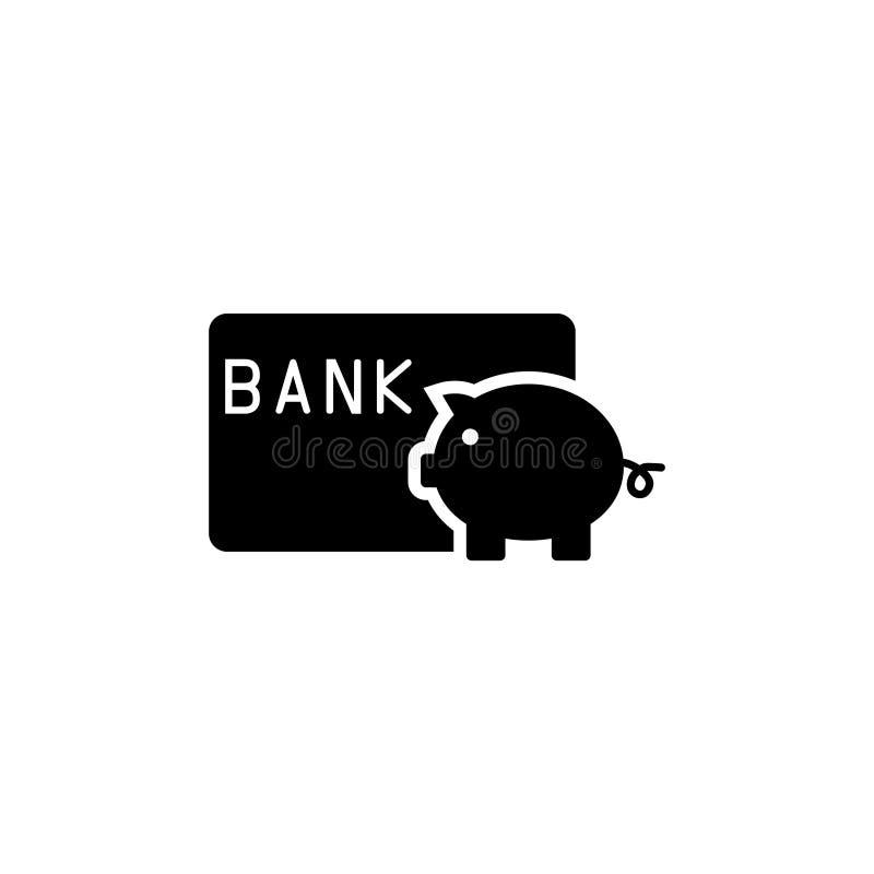 Speichern Sie Geld-Sparschwein mit Kreditkarte-flacher Vektor-Ikone lizenzfreie abbildung