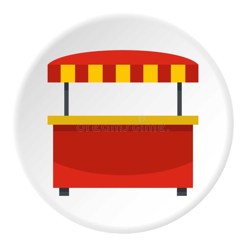 Speichern Sie Kiosk mit rotem und gelbem Markisenikonenkreis lizenzfreie abbildung