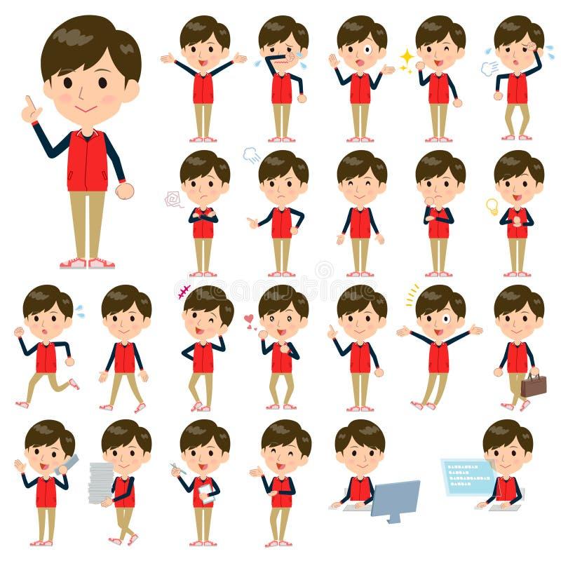 Speichern Sie rote Uniform men_1 des Personals lizenzfreie abbildung