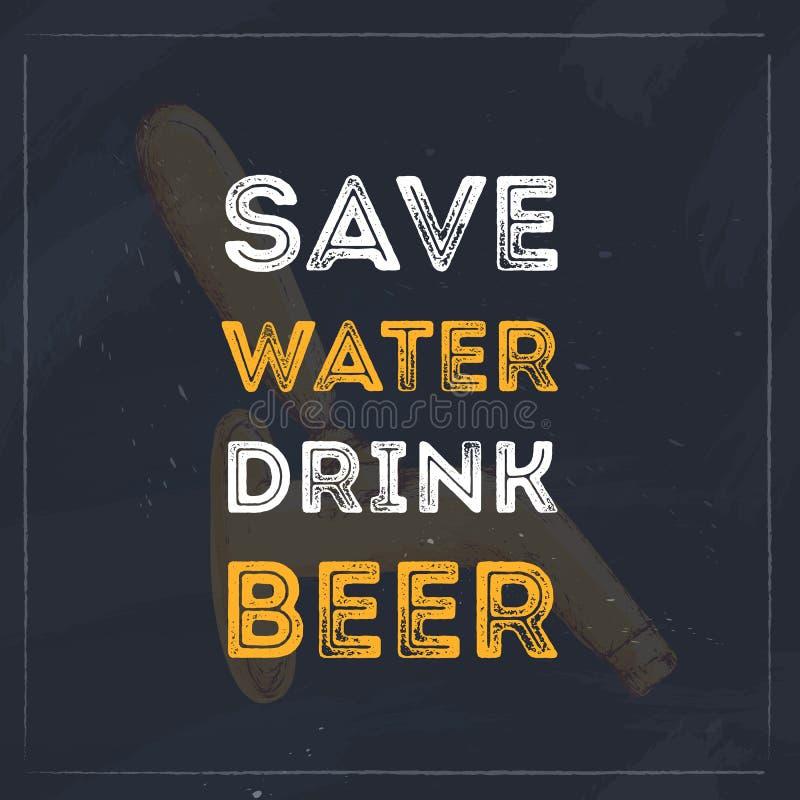 Speichern Sie Wassergetränkbier-Typografiezitat für Restaurant Kreatives Fahnendesign stock abbildung
