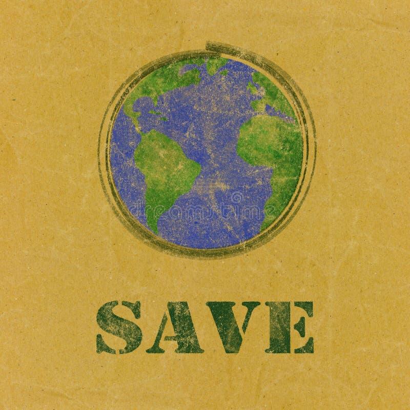 Speichern Sie Wort mit Erde auf Recyclingpapier vektor abbildung