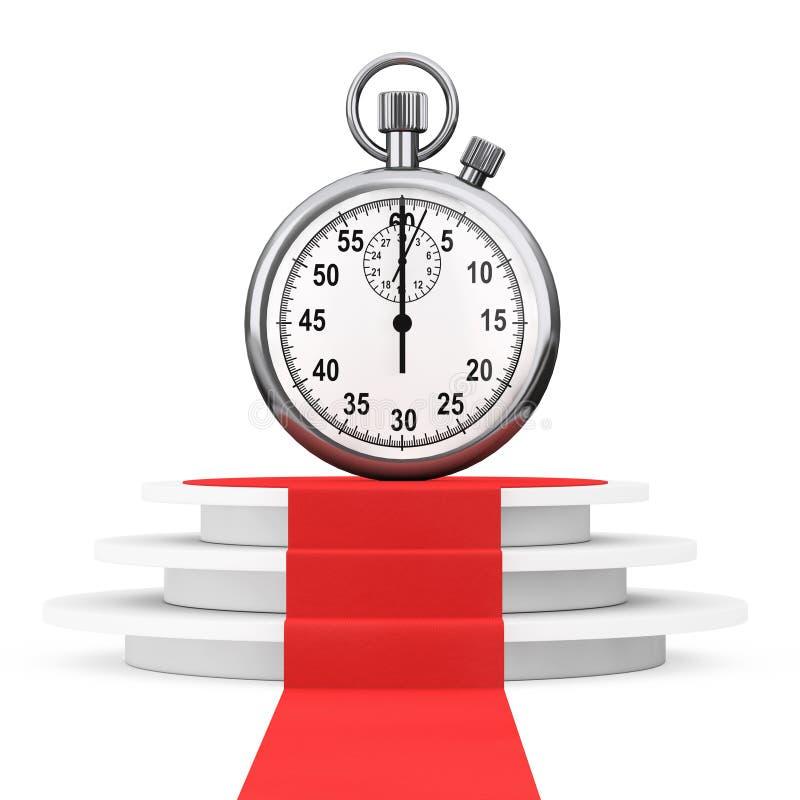 Speichern Sie Zeitkonzept Stoppuhr über Sieger-Podium mit rotem Teppich lizenzfreie abbildung