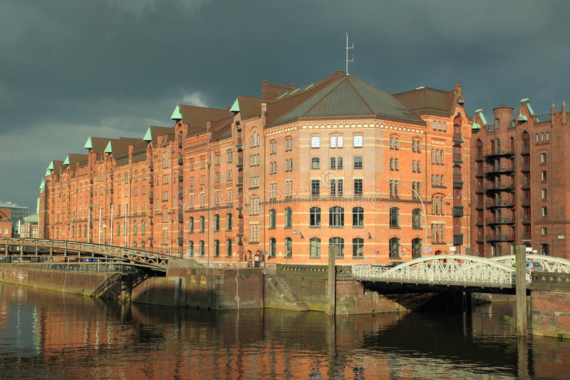 Speicherstadt en Hamburgo foto de archivo
