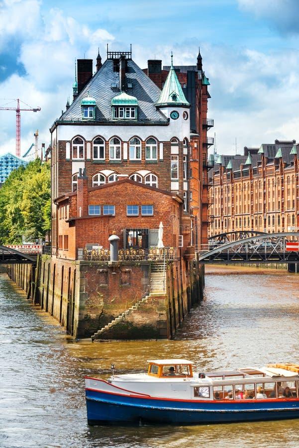 Speicherstadt in Hamburg stock foto's
