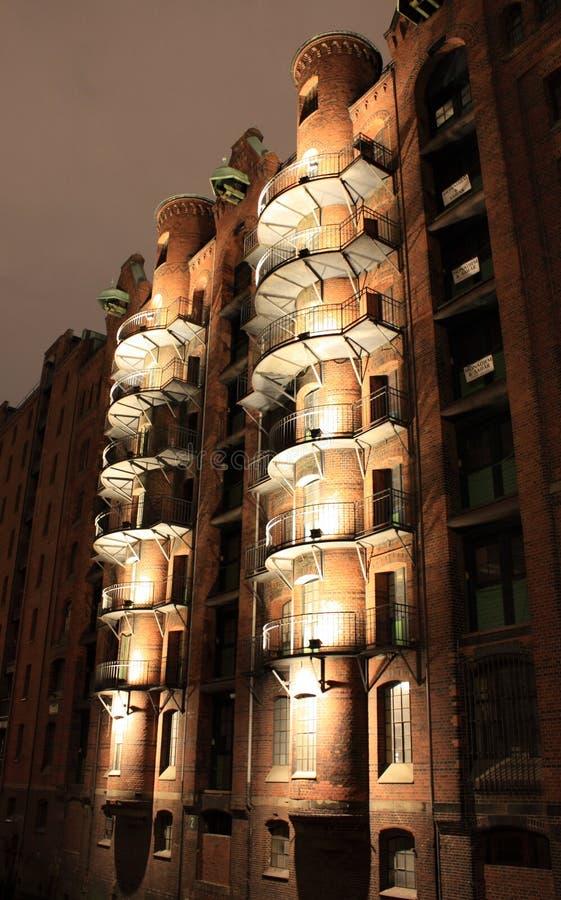 Speicherstadt Hamburg at night stock images