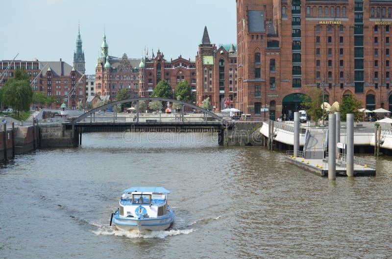 Speicherstadt Hamburg, stad av lager i Hamburg arkivfoto