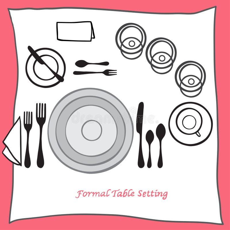 Speisen der richtigen Anordnung des Gedecks für cartooned Tischbesteck stock abbildung