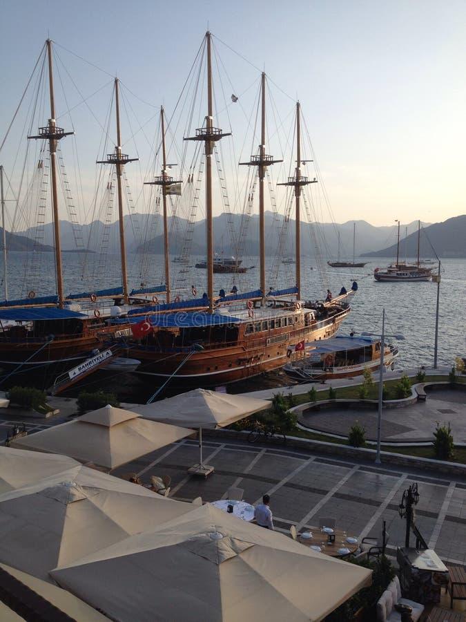 Speiseröhren der Türkei Marmaris im Hafen stockfotos