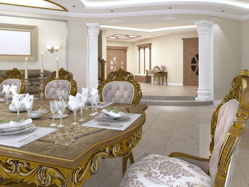 Speisetisch mit den barocken Artstühlen, die das Foyer mit einem Korridor übersehen lizenzfreie abbildung