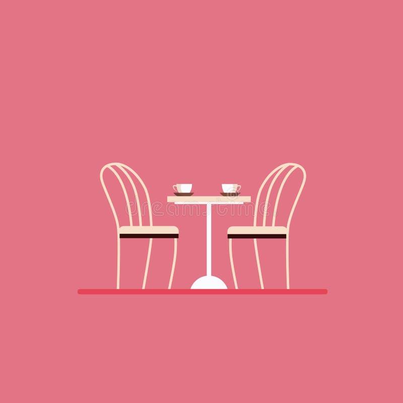 Speisetisch und Stühle Flacher Artvektor vektor abbildung