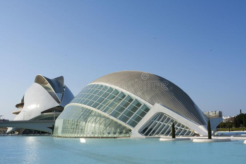 Spektakulära byggnader i staden av konster och vetenskaper arkivfoto