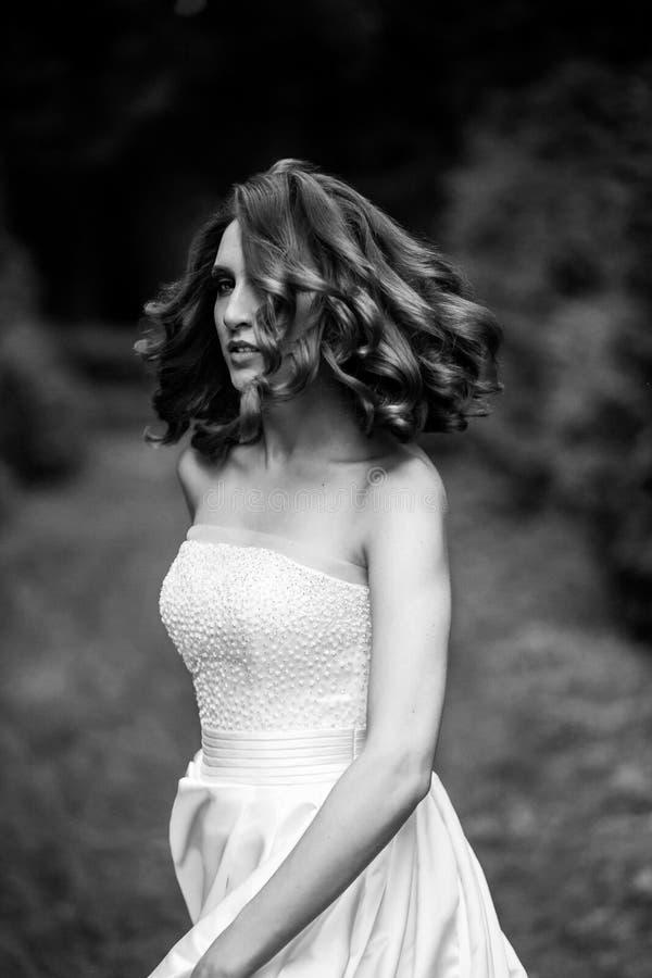 Spektakulärt svartvitt av bruden arkivfoton