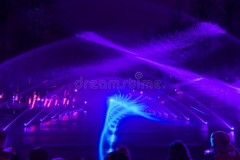 Spektakulärt vatten och mång--färgad ljus- och laser-showSKOG AV FÖRNIMMELSER med springbrunnbeståndsdelar arkivbilder