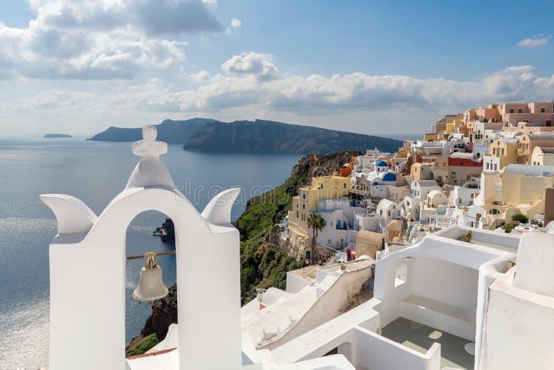 Spektakularny Oia miasteczko na Santorini wyspie, Grecja fotografia stock