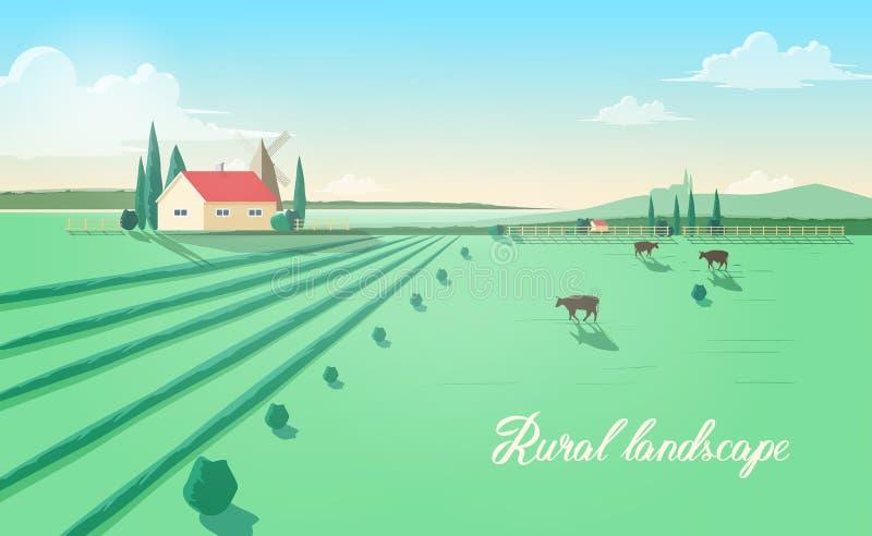 Spektakularny wiejski krajobraz z rolnym budynkiem, wiatraczek, krowy pasa w zieleni polu przeciw pięknemu niebu dalej ilustracji