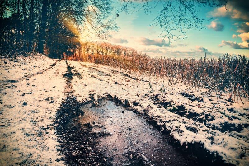 Spektakularny zmierzch nad śnieg zakrywającą wiejską drogą zdjęcie stock