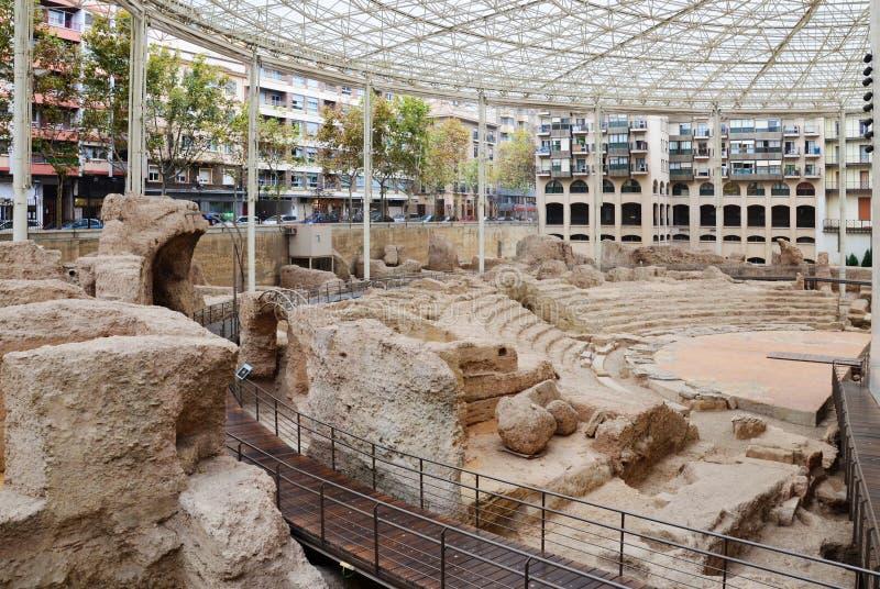 Spektakularny zostaje Romański amfiteatr w Zaragoza zdjęcia royalty free