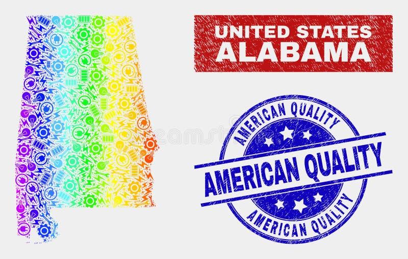 Spektral- översikt för konstruktionsAlabama stat och amerikanska kvalitets- stämplar för Grunge royaltyfri illustrationer