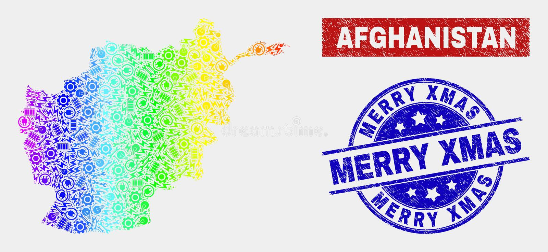 Spektral- del- Afghanistan översikt och glade Xmas-vattenstämplar för Grunge royaltyfri illustrationer