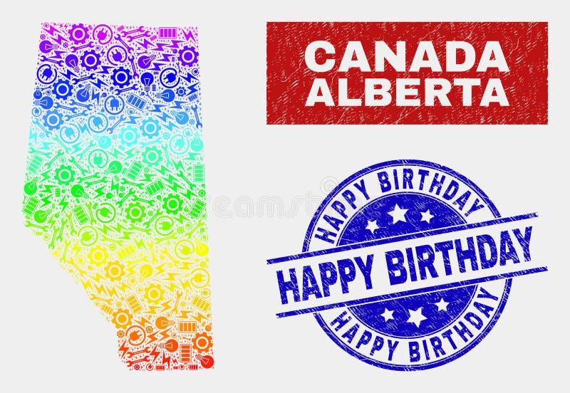 Spektral- industriella Alberta Province Map och skrapade stämplar för lycklig födelsedag vektor illustrationer