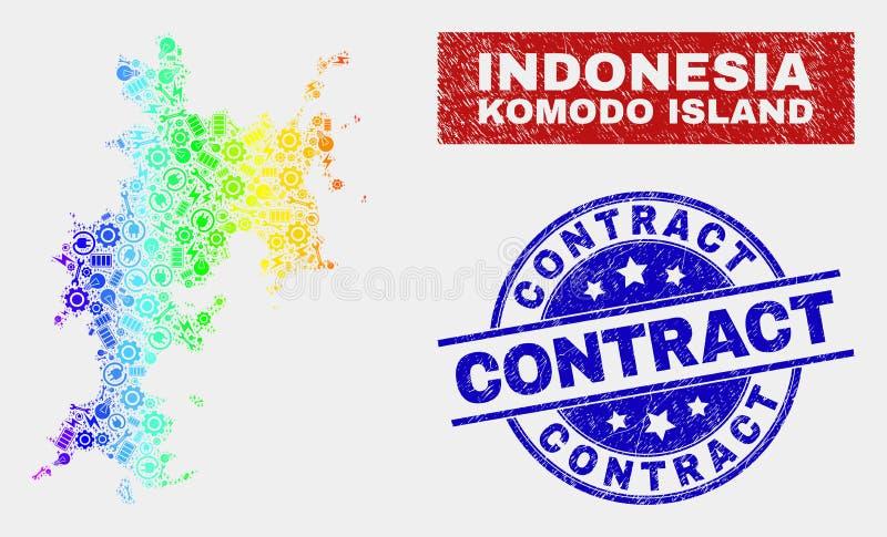 Spektral- montera stämplar för avtalet för för den Komodo ööversikten och Grunge royaltyfri illustrationer