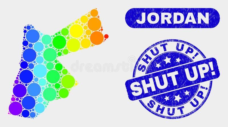 Spektral- mosaik Jordan Map och skrapat stängt upp! Vattenstämpel vektor illustrationer