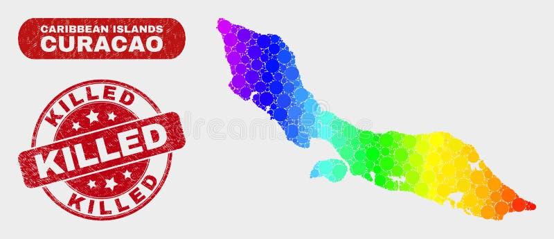 Spektral- mosaisk Curacao ööversikt och skrapad dödad stämpelskyddsremsa vektor illustrationer