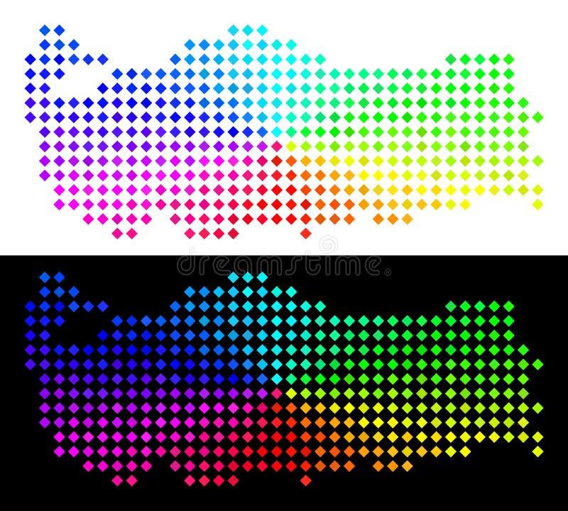 Spektral- Pixelated Turkiet översikt stock illustrationer