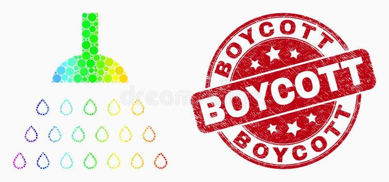Spektral- prickig duschsymbol för vektor och skrapad bojkottvattenstämpel vektor illustrationer