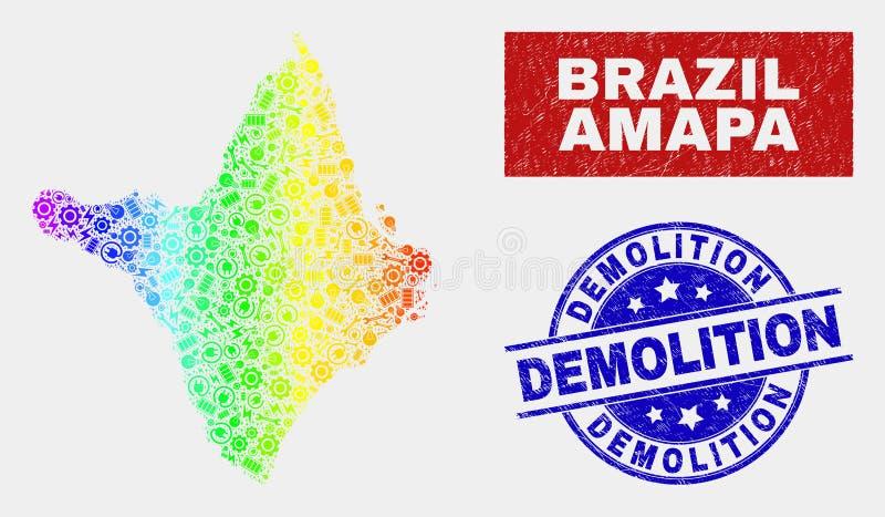 Spektral- produktion Amapa påstår översikten och bedrövar rivningstämpelskyddsremsor vektor illustrationer