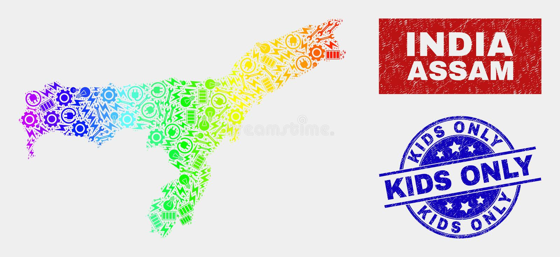 Spektral- skyddsremsor för ungar för översikt och för nödläge för produktionAssam stat endast vektor illustrationer