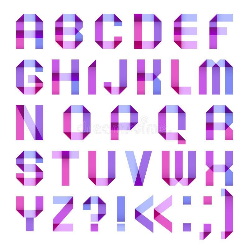 Spektralbuchstaben gefaltet vom Papierbandpurpur stock abbildung