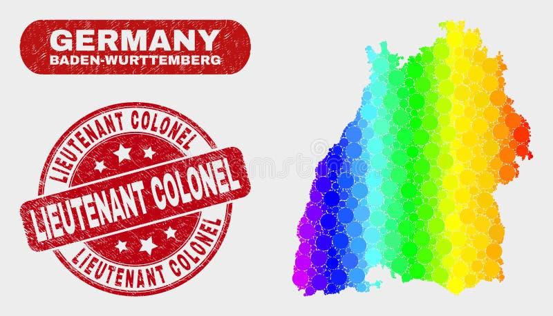 Spektralmosaik Baden-Wurttembergland-Karte und Bedrängnis-Oberstleutnant Watermark vektor abbildung