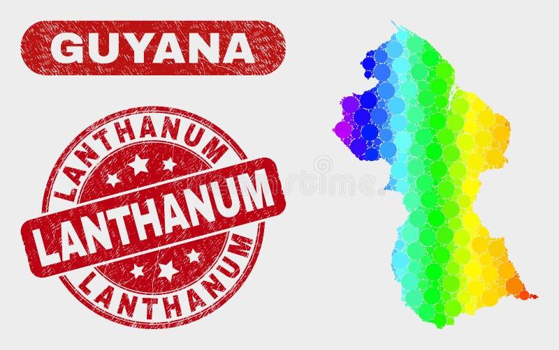 Spektralmosaik-Guyana-Karte und verkratztes Lanthan-Stempelsiegel stock abbildung