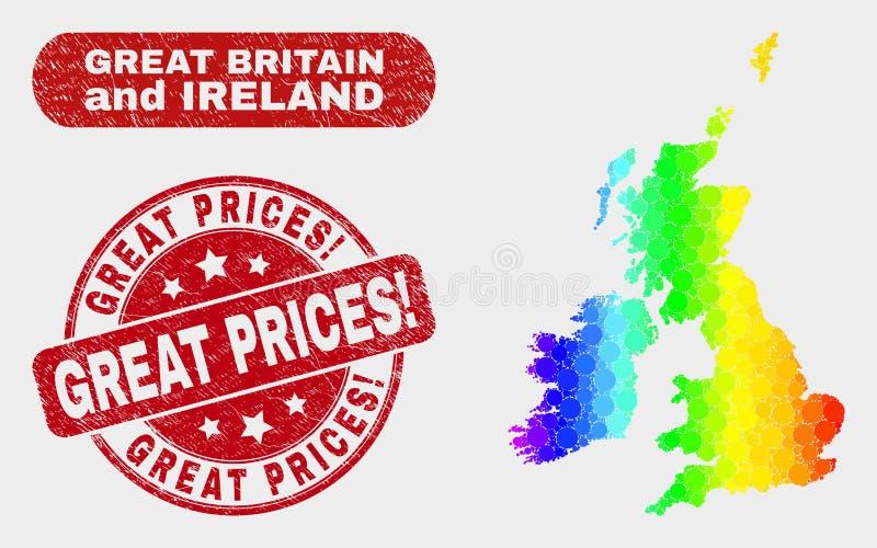 Spektralna mozaika Brytania i Irlandia Wielka mapa i Grunge Wielkie ceny! Foka ilustracja wektor