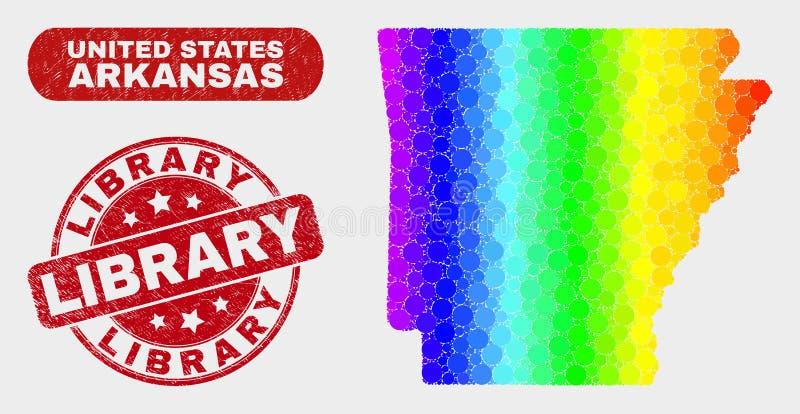 Spektralna mozaiki Arkansas stanu mapa i cierpienie biblioteki Watermark royalty ilustracja