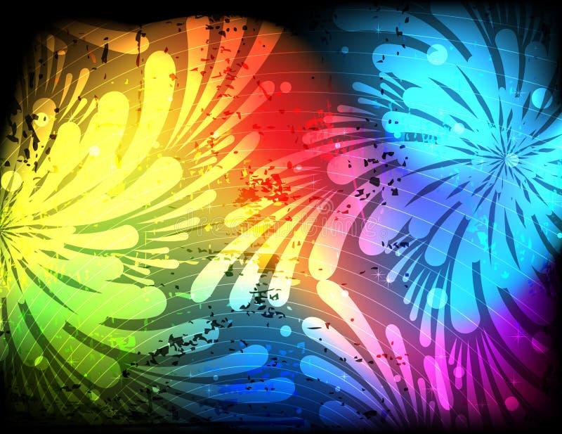 spektralne abstrakcjonistyczne kwieciste sylwetki ilustracja wektor