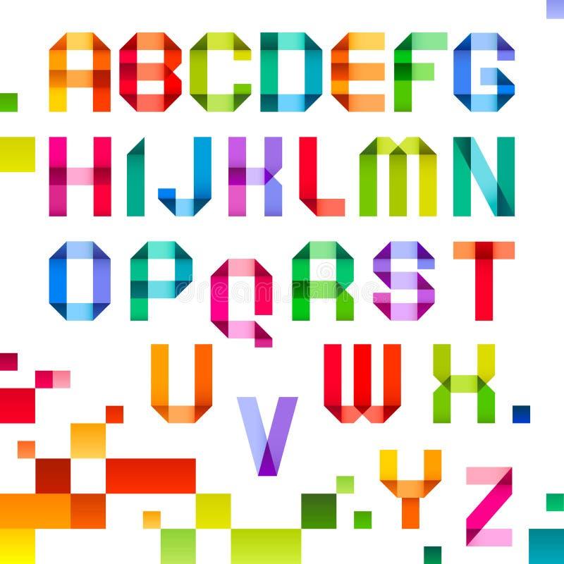 Spektralzeichen gefaltet von der Papierfarbbandfarbe vektor abbildung