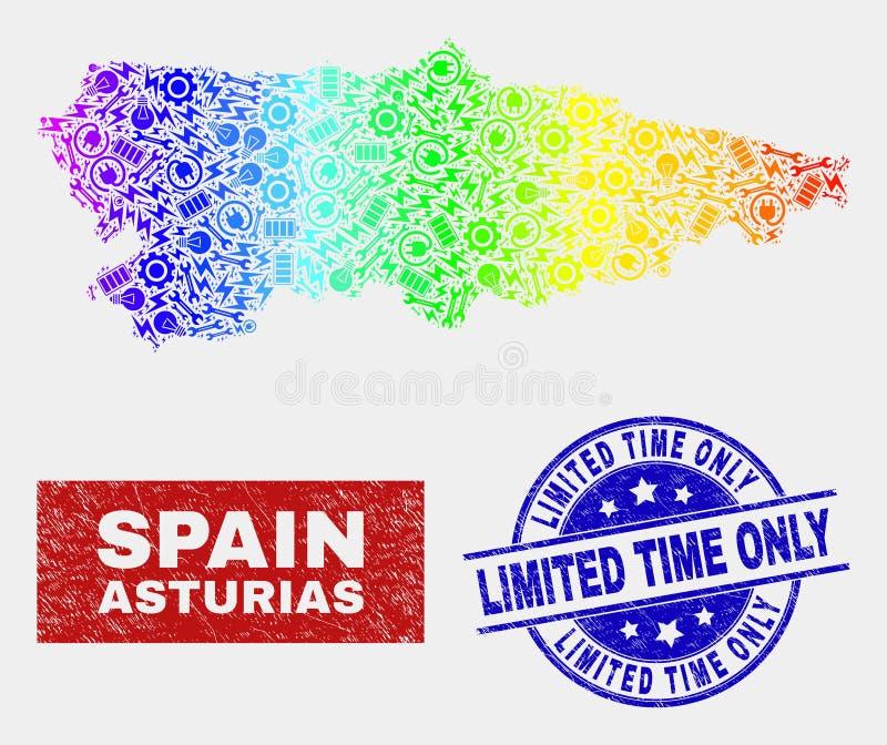Spektret bearbetar den Asturias landskapöversikten och bedrövar inskränkta Tid endast stämplar stock illustrationer