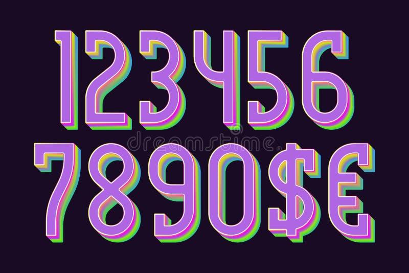 Spektret färgade nummer med dollar- och eurosymboler i regnbågsskimrande vibrerande stil royaltyfri illustrationer