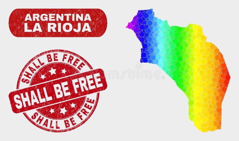 Spektret mosaiska La Rioja av den Argentina översikten och Grunge ska vara den fria stämpeln stock illustrationer