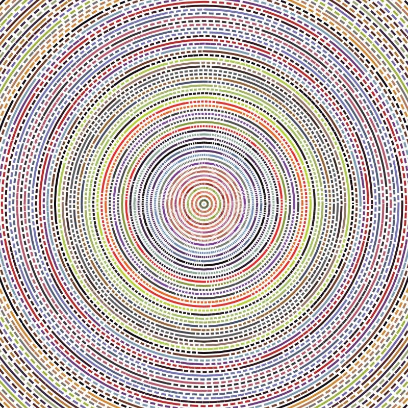 Spektrum, das bunter Sun Kreis-Streifen-Quadrat sprengte, stürzte Dots Mesh Lines Background Pattern Texture stock abbildung