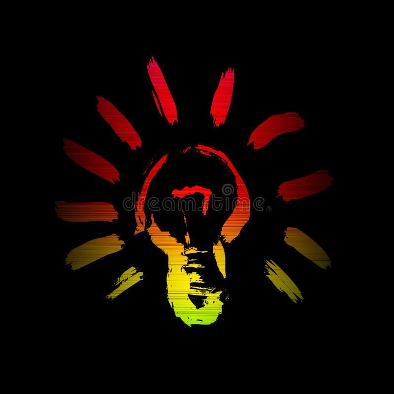 Spektrum för ljus kula som glöder isolerat på svart royaltyfri illustrationer