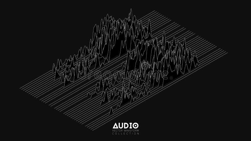 Spektrum för wavefrom för eko för vektor 3d ljudsignalt Abstrakt musik vinkar svängningsgrafen Futuristisk visualization för soli vektor illustrationer