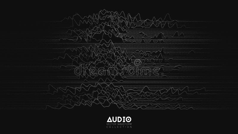 Spektrum för wavefrom för eko för vektor 3d ljudsignalt Abstrakt musik vinkar svängningsgrafen Futuristisk visualization för soli royaltyfri illustrationer