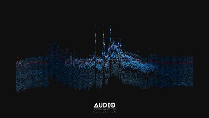 Spektrum för wavefrom för eko för vektor 3d ljudsignalt Abstrakt musik vinkar svängningsgrafen Futuristisk visualization för soli stock illustrationer
