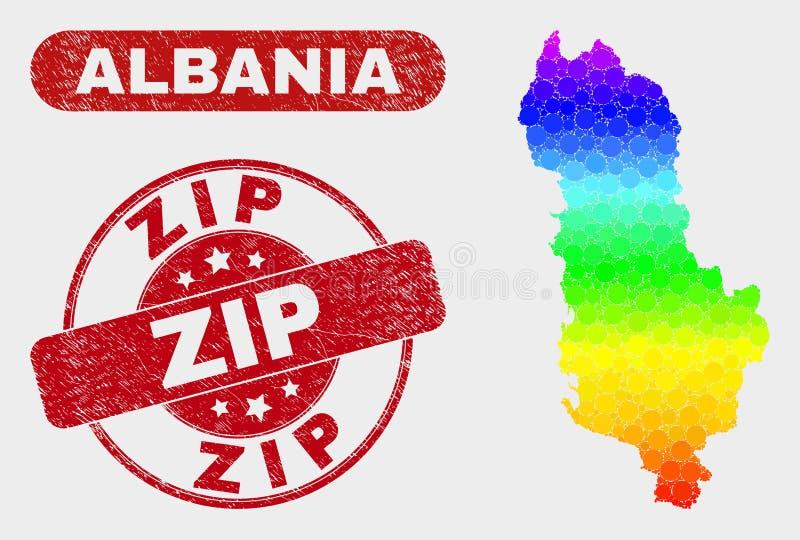 Spektrum-Mosaik-Albanien-Karte und Schmutz-Zipstempelsiegel stock abbildung