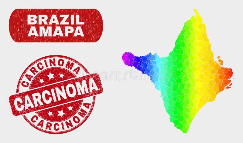 Spektrum-Mosaik Amapa-Zustands-Karte und verkratzter Krebsgeschwür-Stempel lizenzfreie abbildung